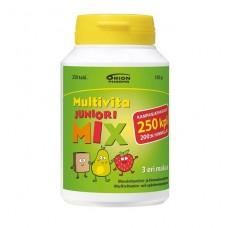 Мультивитамины от 2 - 9 лет Multivita Junior Mix 250 табл три разных вкуса (клубника, груша и ирис)